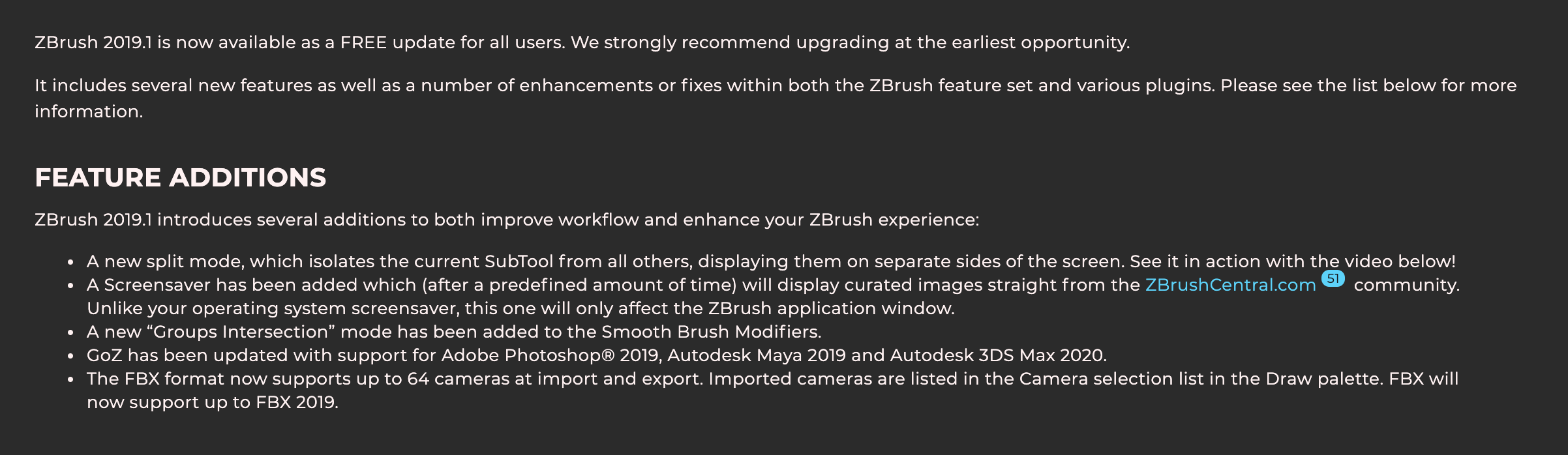 I purchased Zbrush 2018, is Zbrush 2019 and 2019 1 available for