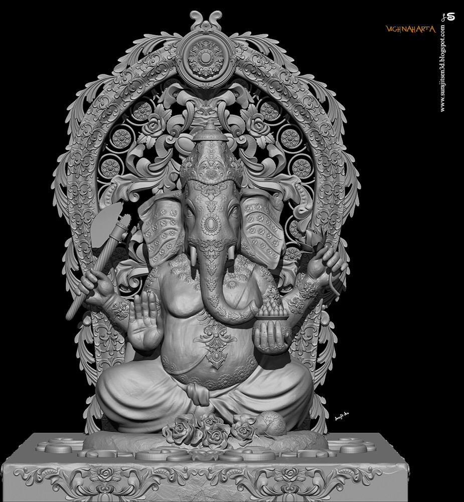 Vighnaharta_Digital_Sulpture_SurajitSen_22_Aug2020A_WIP_L