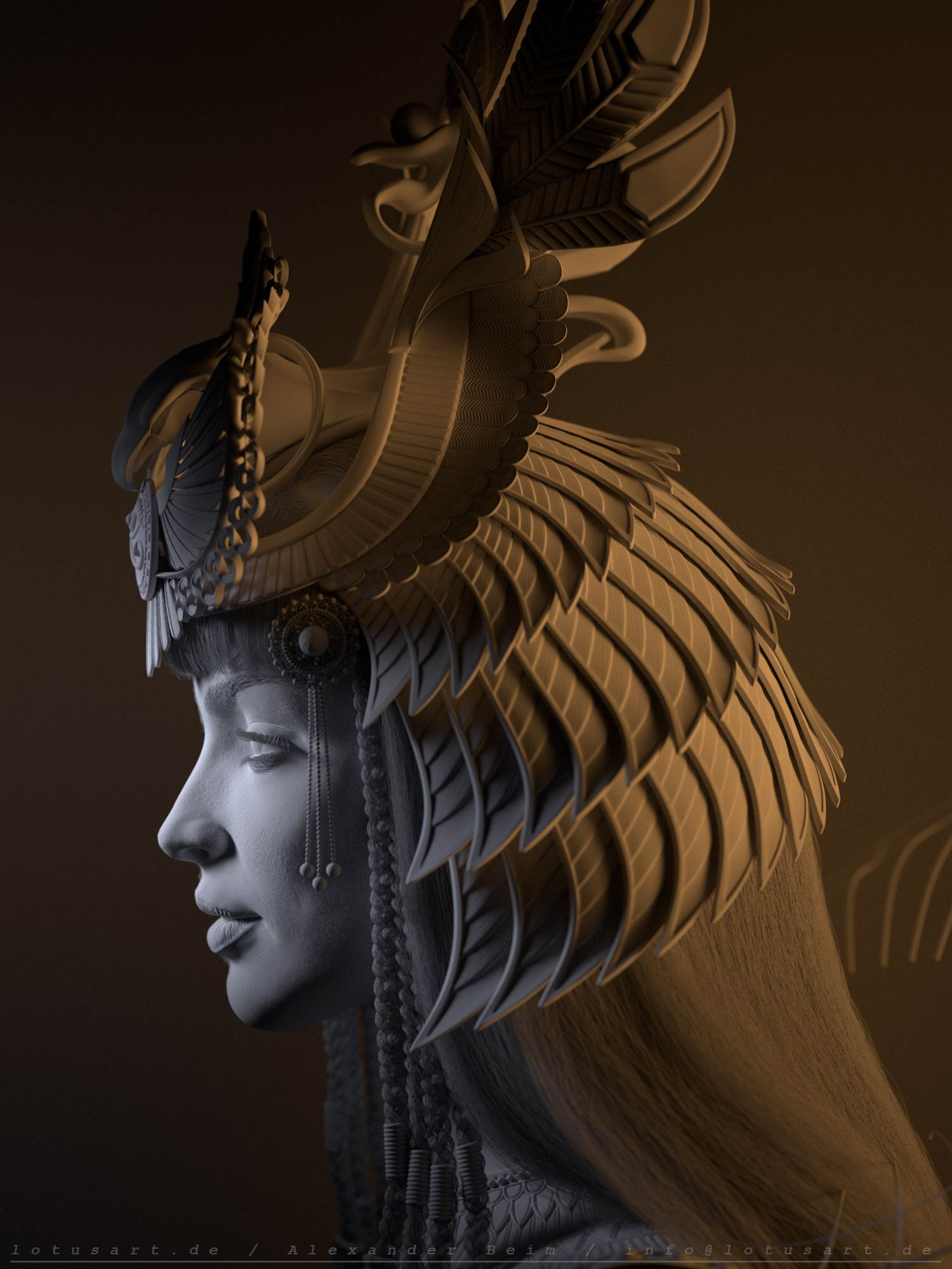 cleopatra_3d_lighting_side_view_digital_csulpting