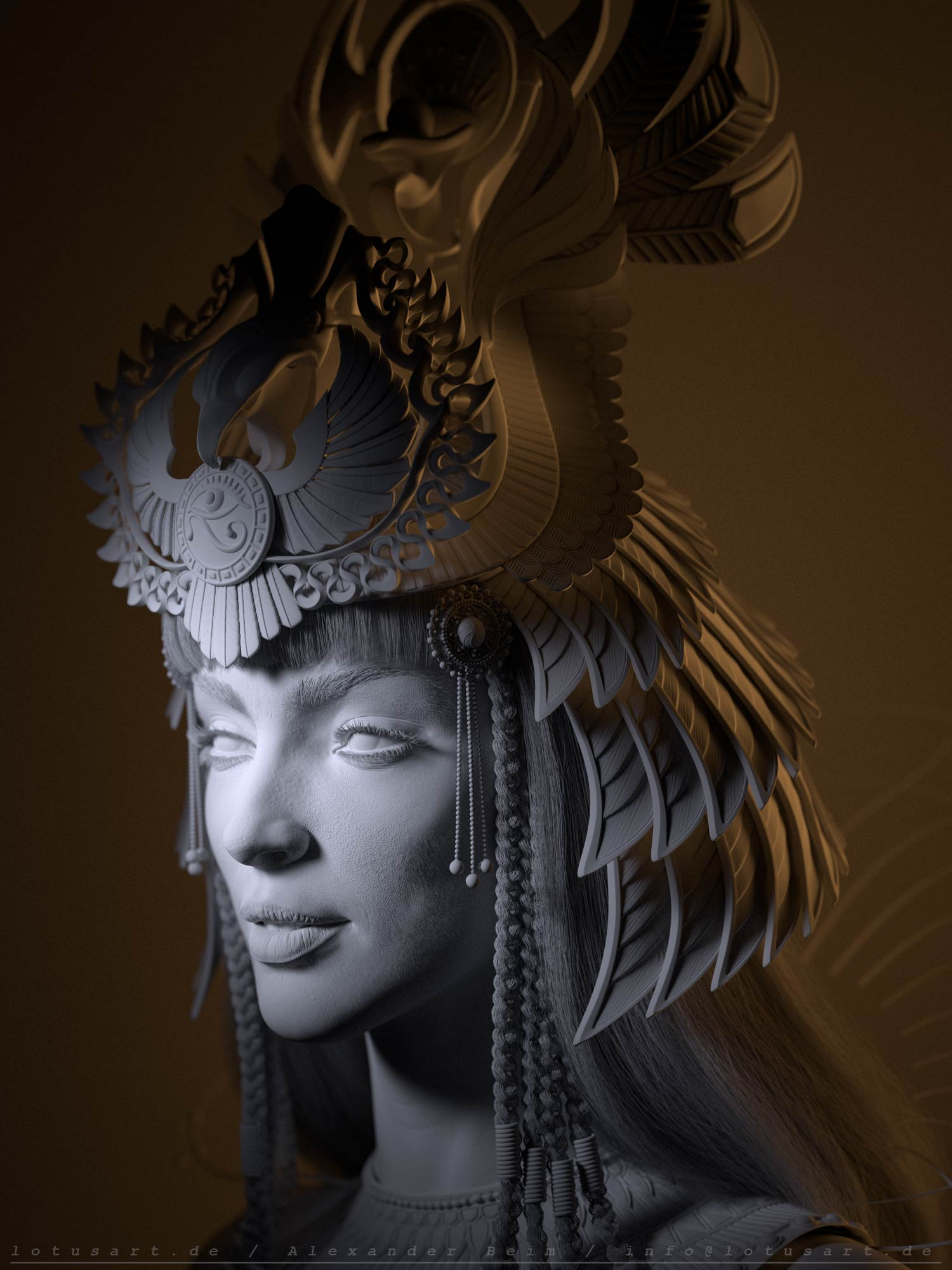cleopatra_3d_lighting_zbrush