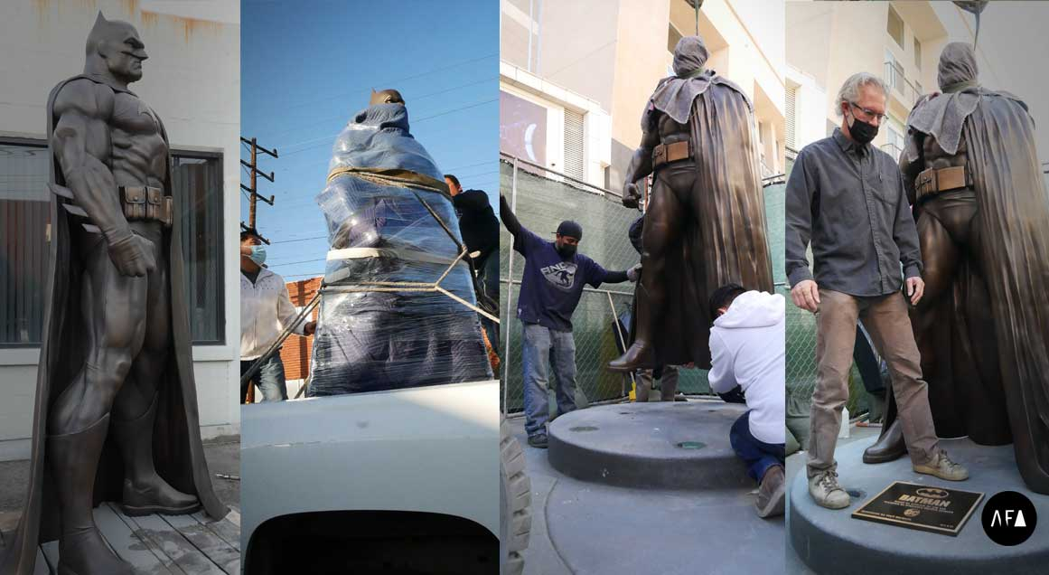 Batman-Unveiled-in-Burbank-Installation-Process-by-American-Fine-Arts