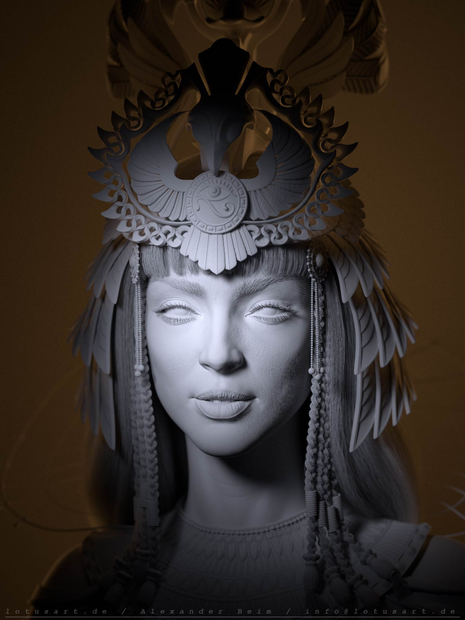 cleopatra_3d_lighting_wireframe_digital_csulpting